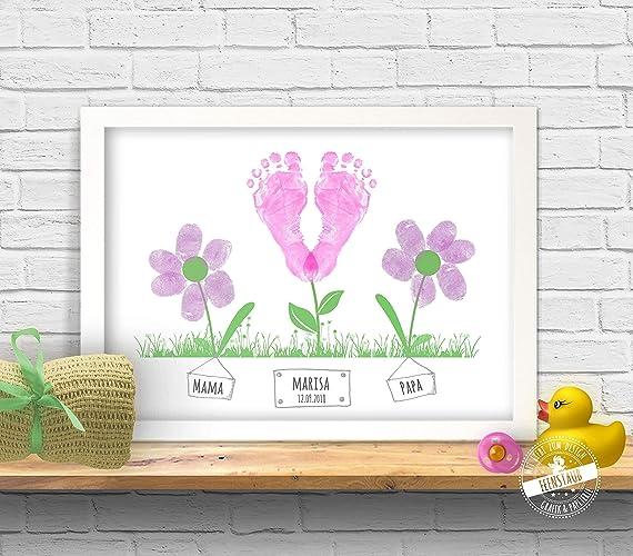 Blumen Bild Fur Baby Fussabdruck Und Eltern Fingerabdruck