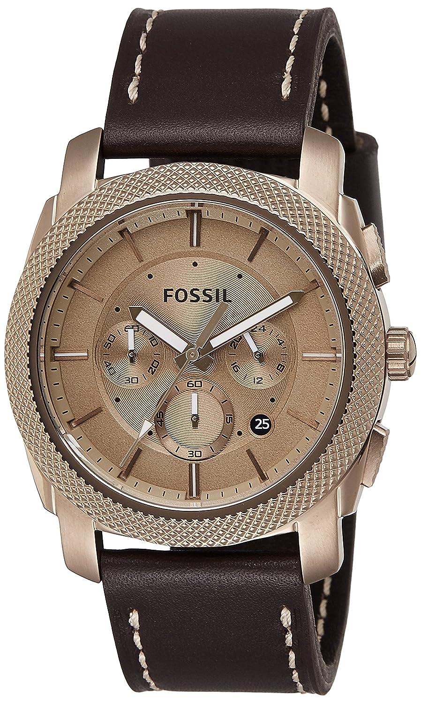 Fossil Men s FS5075 Machine Chronograph Leather Watch Dark Brown