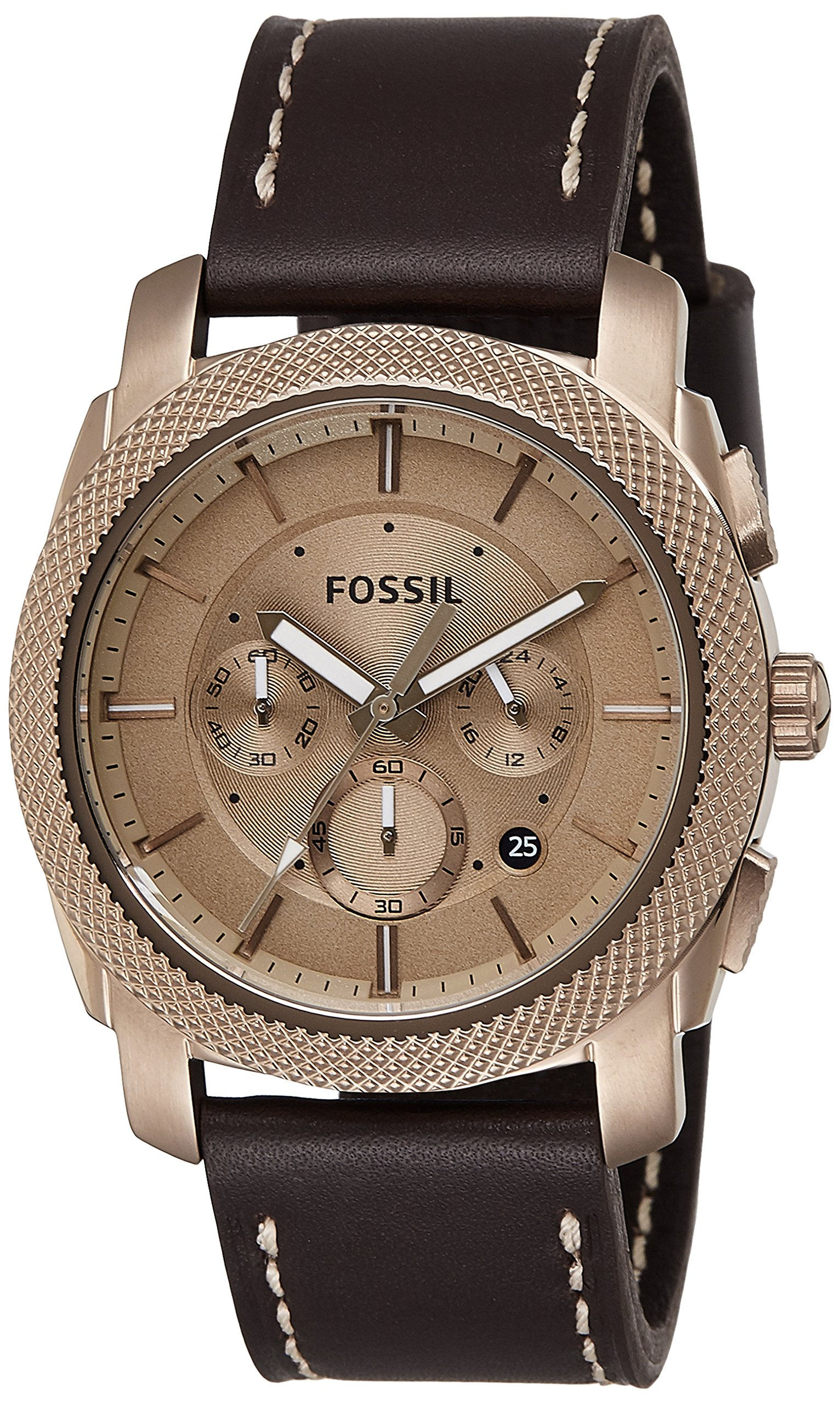 Fossil Men's FS5075 Machine Chronograph Leather Watch – Dark Brown