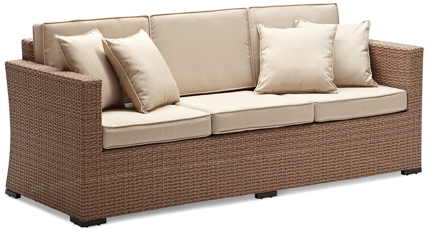 Amazon.com: Strathwood Griffen All-Weather Wicker 3-Seater Sofa, Natural:  Garden & Outdoor
