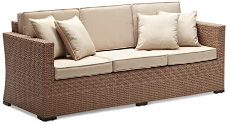Strathwood Griffen All Weather Wicker 3 Seater Sofa, Natural