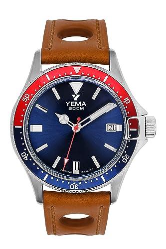 Reloj hombre - yema - Pro Diver - Pulsera Piel Miel perforado - automático - 42 mm - 30 Bar - ymhf1554-gs34: Amazon.es: Relojes