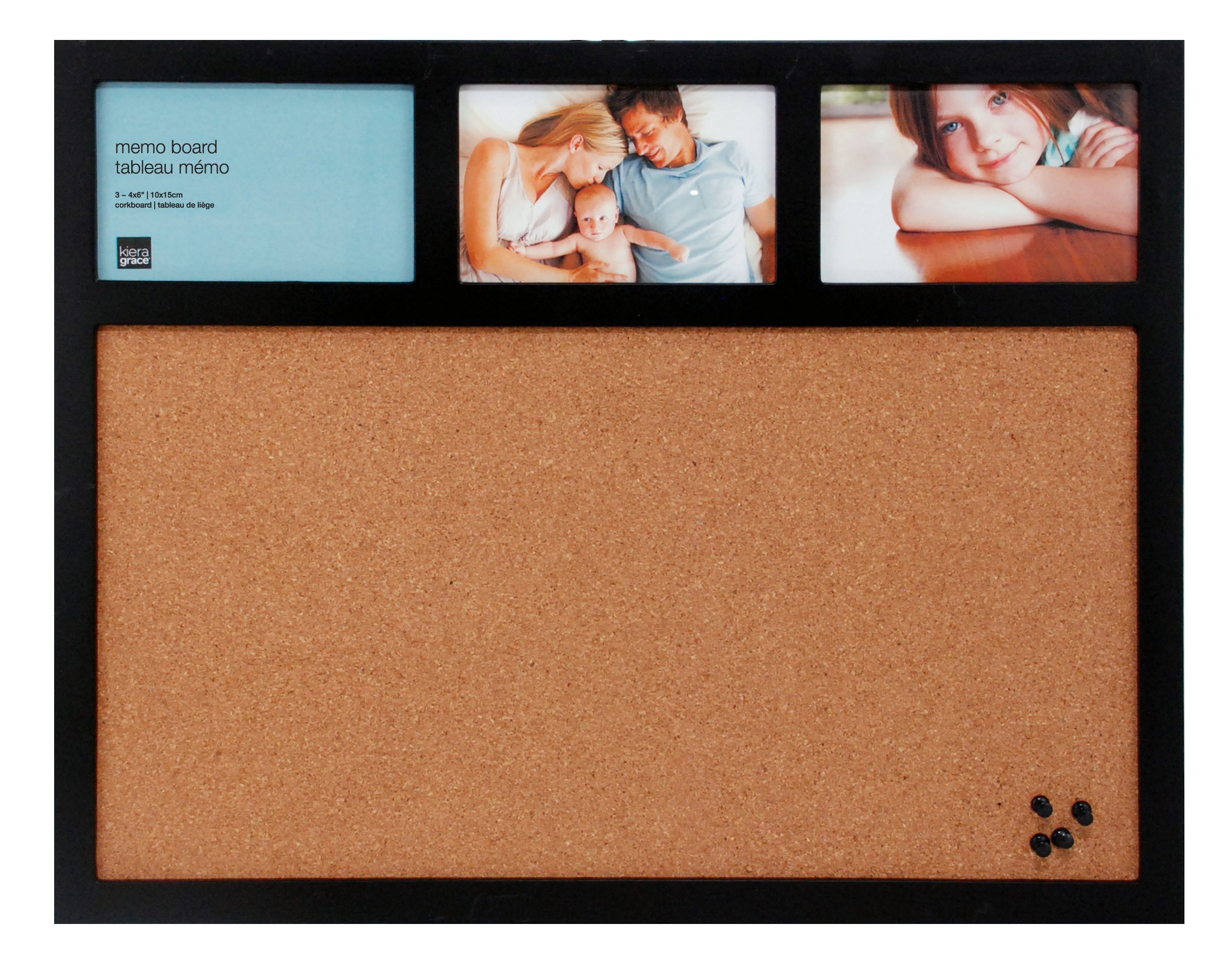 Kiera Grace Cork Board and Collage Frame Combo, 16 by 20 Inch Holds 3-4 by 6 Inch Photos, Black with 4 Pushpins