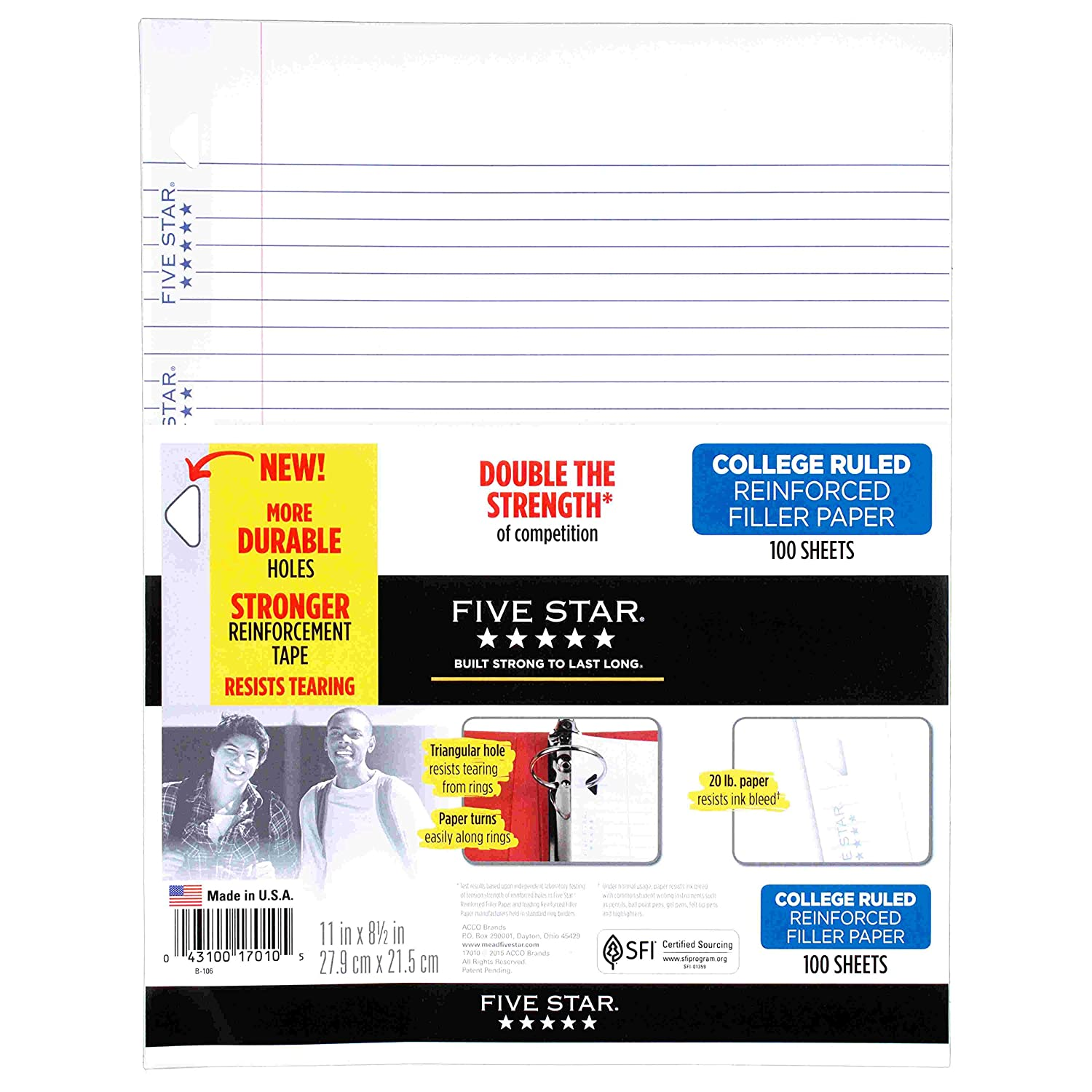 Amazon.com : Five Star Filler Paper, College Ruled, Reinforced, Loose Leaf  Paper, 11 X 8.5  Print Loose Leaf Paper
