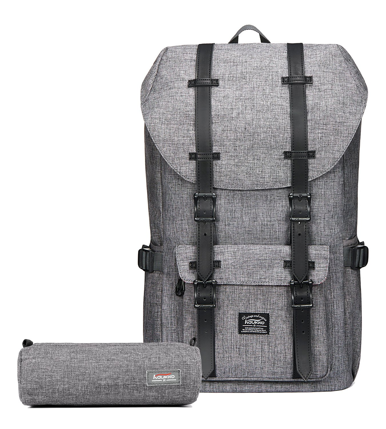 KAUKKO Laptop Outdoor Backpack, Travel Hiking& Camping Rucksack Pack, Casual Large College School Daypack, Shoulder Book Bags Back Fits 15'' Laptop & Tablets (1Linen Grey(2pc)) by KAUKKO