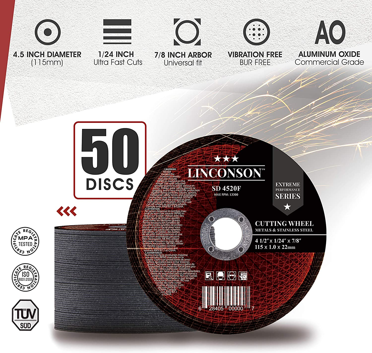 """LINCONSON 50 PACK 4.5 Inch Cut Off Wheel for Metal /& Stainless Steel Used On Angle Grinder 4.5/""""x1//24/""""x7//8 Flat Disc SD 4520F"""