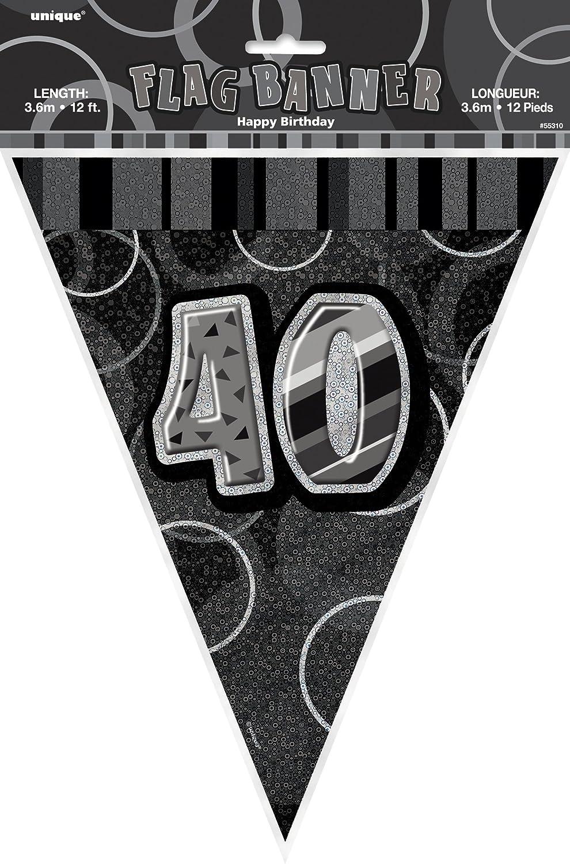 3,60 m Guirlande anniversaire 40 ans rose