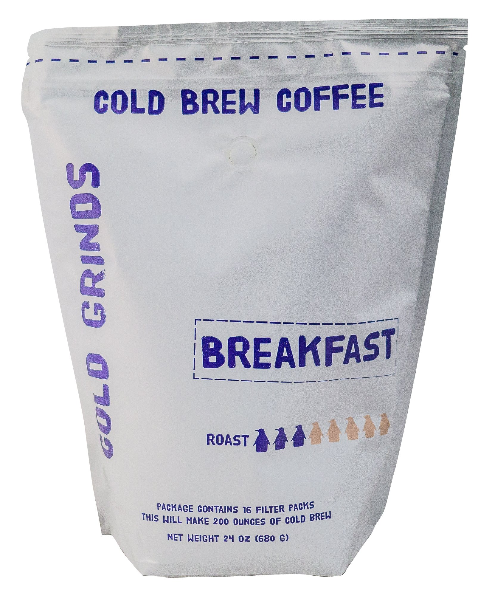 Cold Brew Coffee Packs - Easy at Home Brewing - Our BIG Bag Makes 200 oz of SMOOTH Cold Brew - 66% Less Acidic - Cold Grinds Breakfast Blend (Medium Roast)