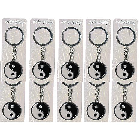 10 x Yin Yang llavero llavero Feng Shui Negro Blanco: Amazon ...