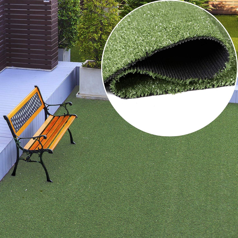 TAPISO Pelouse Synth/étique Tapis dExt/érieur Gazon Balcon Terrasse Jardin Vert Poil Court R/ésistant au M/ètre 100 x 280 cm