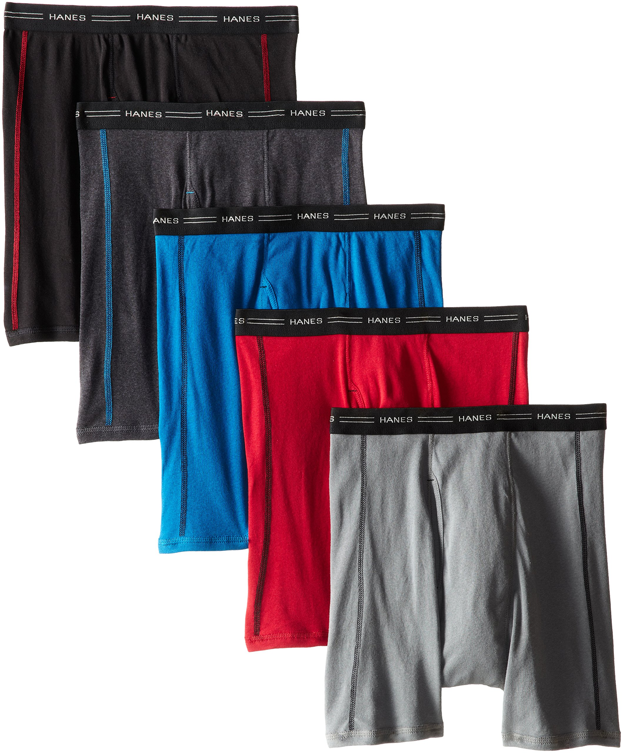 Hanes Men's 5-Pack Sports-Inspired FreshIQ Boxer Brief, Assorted, Large