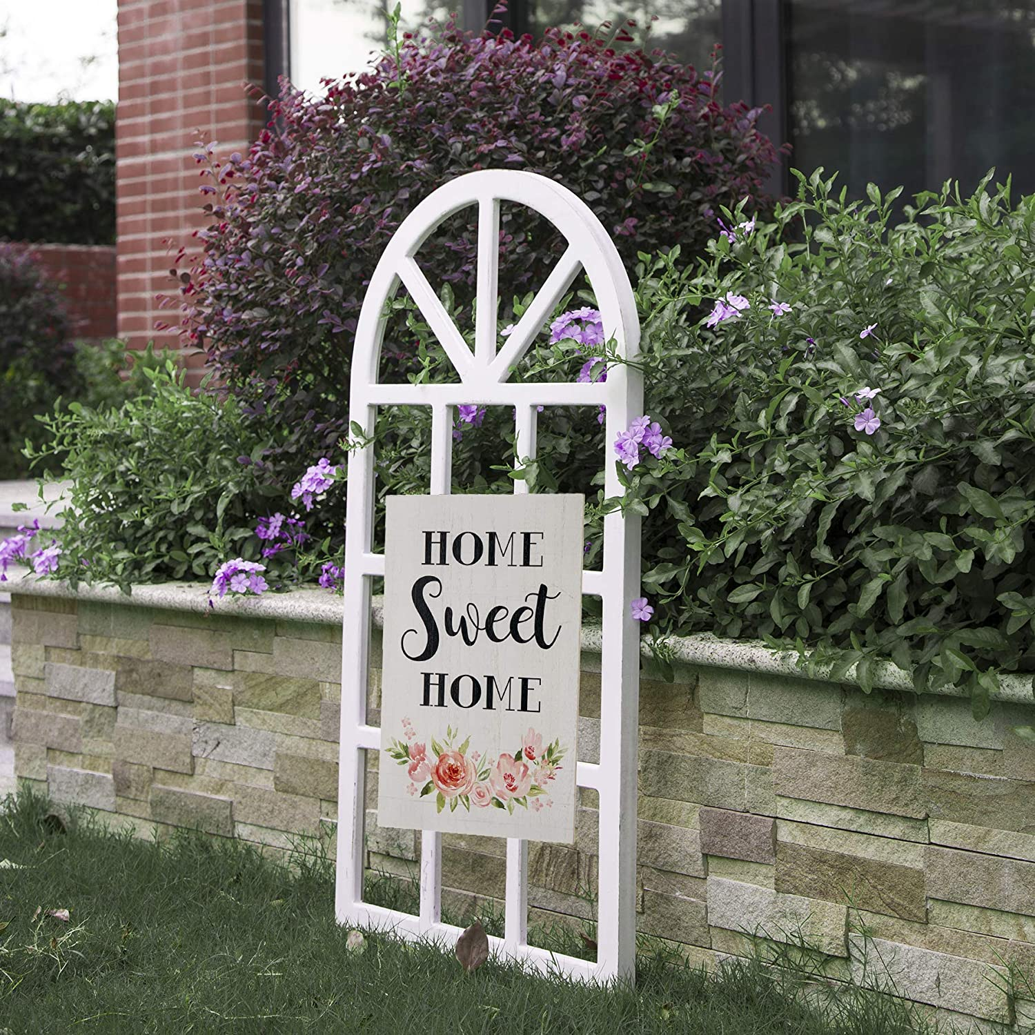 Amazon Com Glitzhome Home Sweet Sign With Wood Arch Window Frame Hand Painted Hanging Farmhouse Plaque For Wall Decoration Everything Else