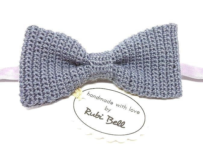Amazon Grey Crocheted Bow Tie Handmade