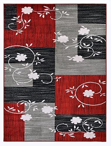 Designer Collection Squares and Flowers Design Contemporary Modern Area Rug Rugs 3 Options Red