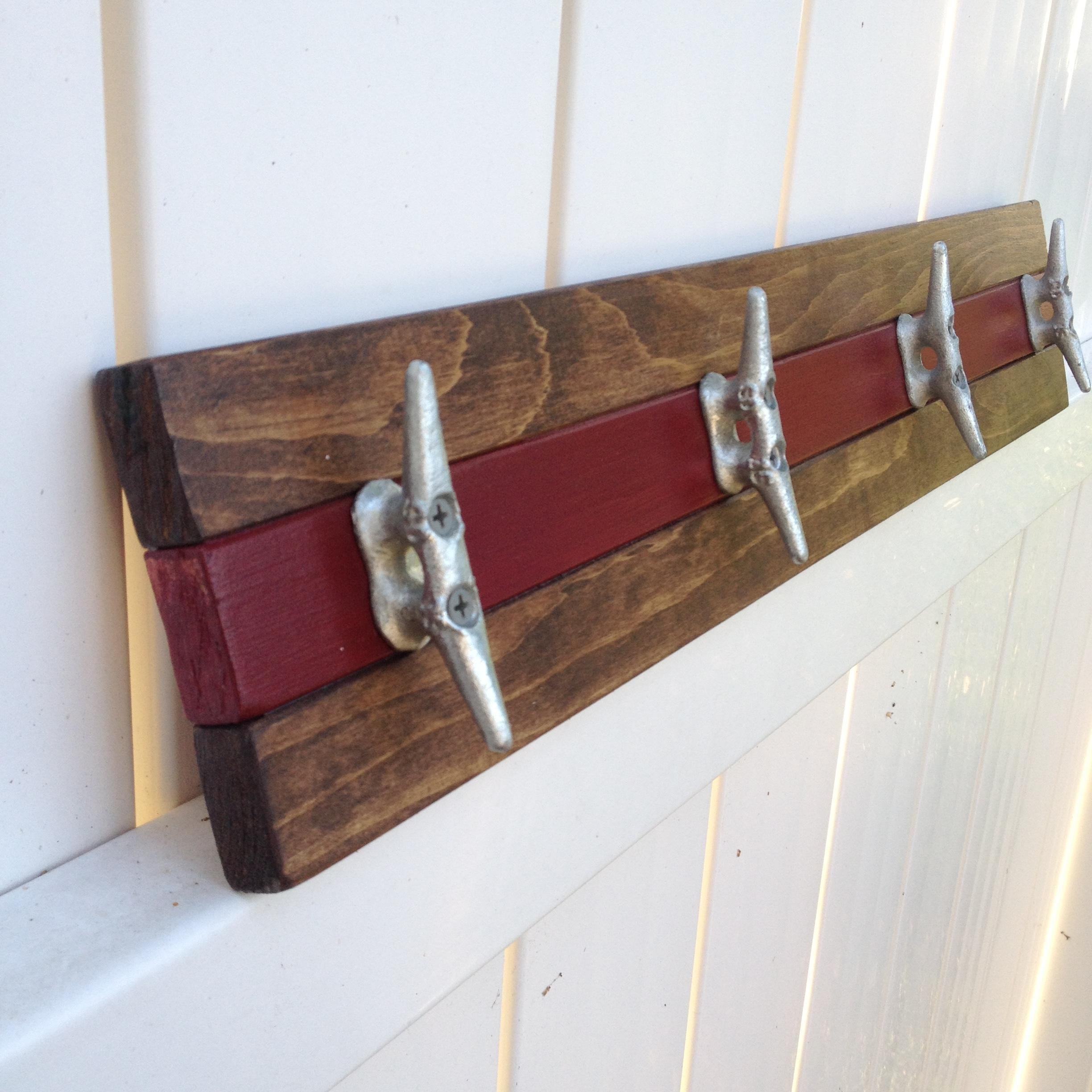 Nautical Boat Cleat Towel Rack, Walnut and Red
