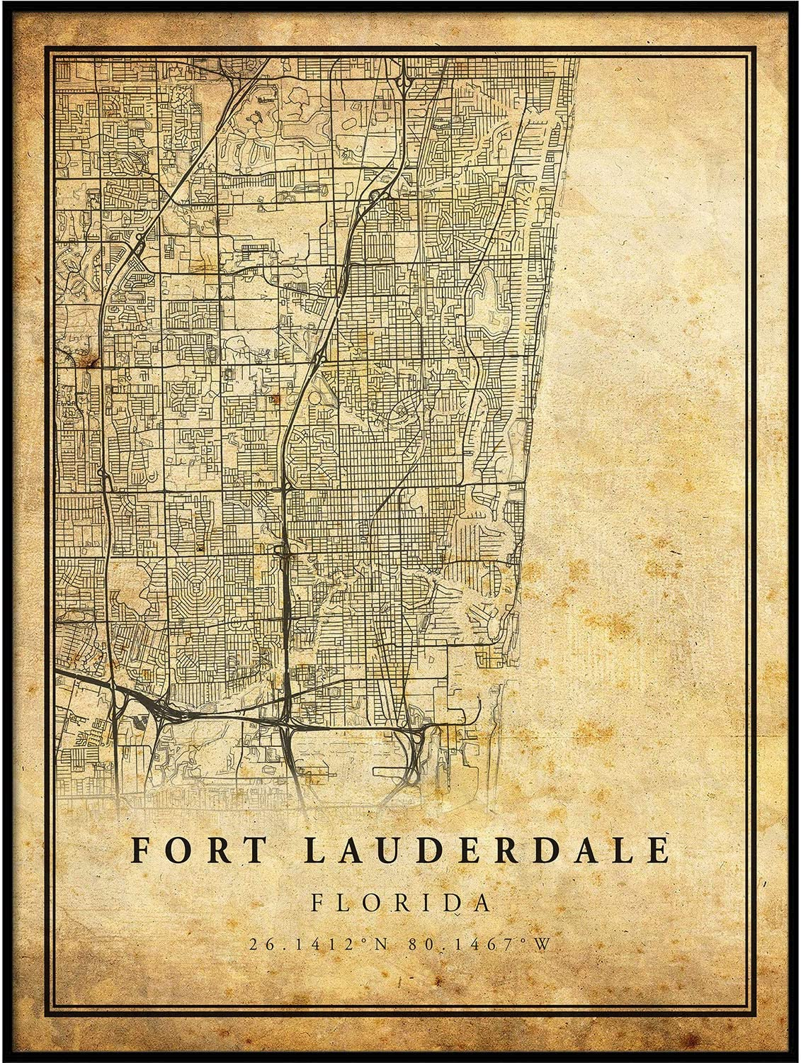 Fort Lauderdale map Vintage Style Poster Print | Old City Artwork Prints | Antique Style Home Decor | Florida Wall Art Gift | map Vintage 8.5x11