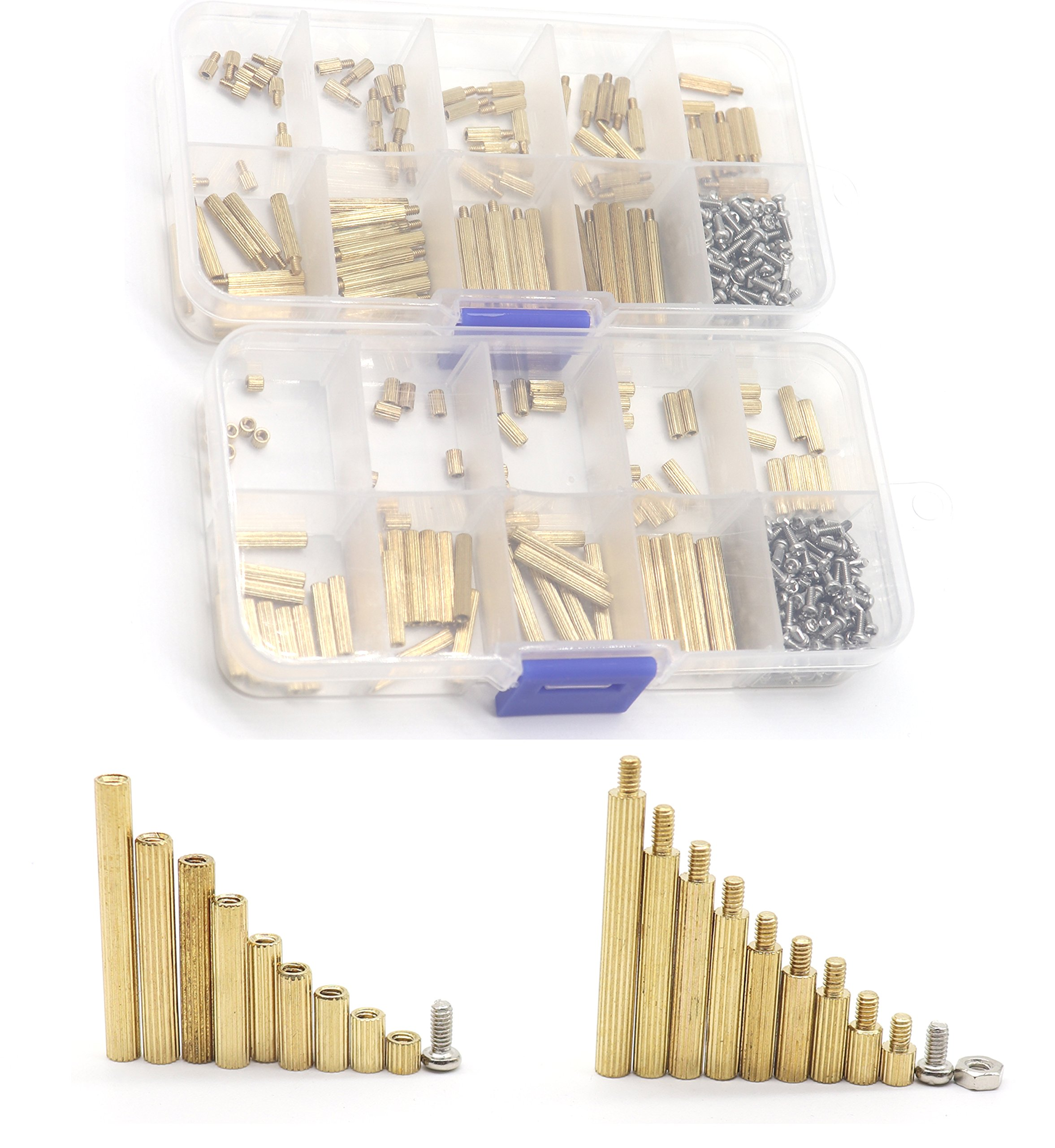 binifiMux 540Pcs M2 Copper Brass Round Standoff Spacers Screw Nuts Assortment Kit,Male Female, 304 Stainless Steel Machine Screws Nuts