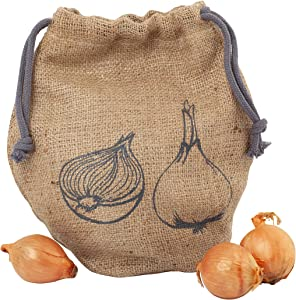 Redecker Onion Bag, Reusable Burlap and Cotton Produce Sack with Drawstring Closure, Keeps Food Fresh, 10-1/2 x 9-1/2 inches