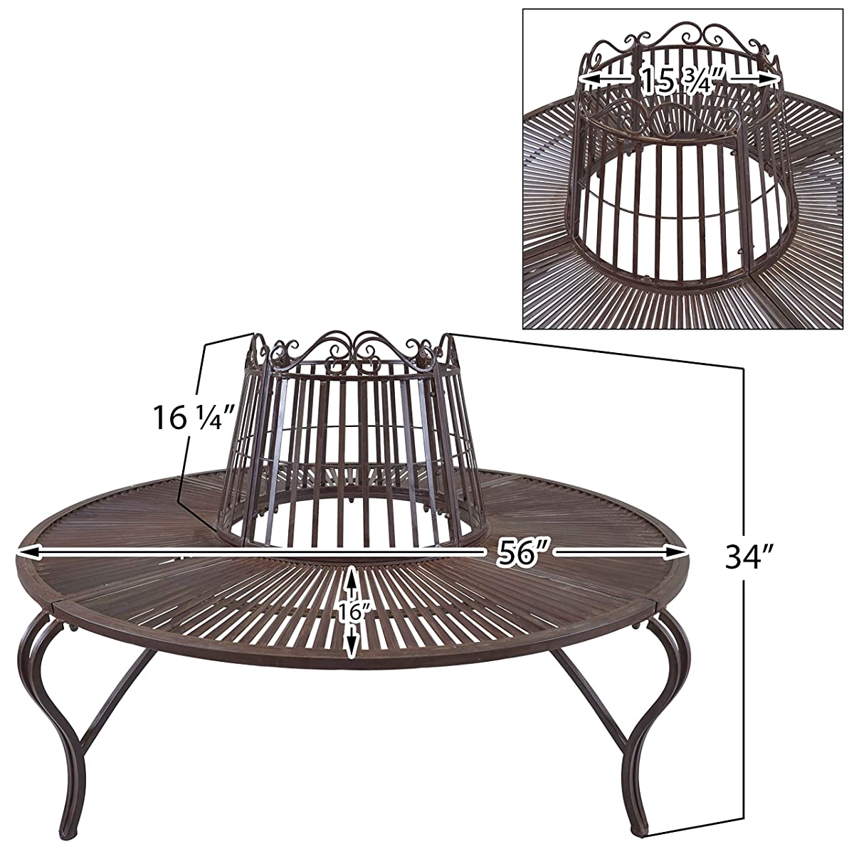 Titan Antique Tree Surround Bench Outdoor Steel Garden Park Backyard Rustic