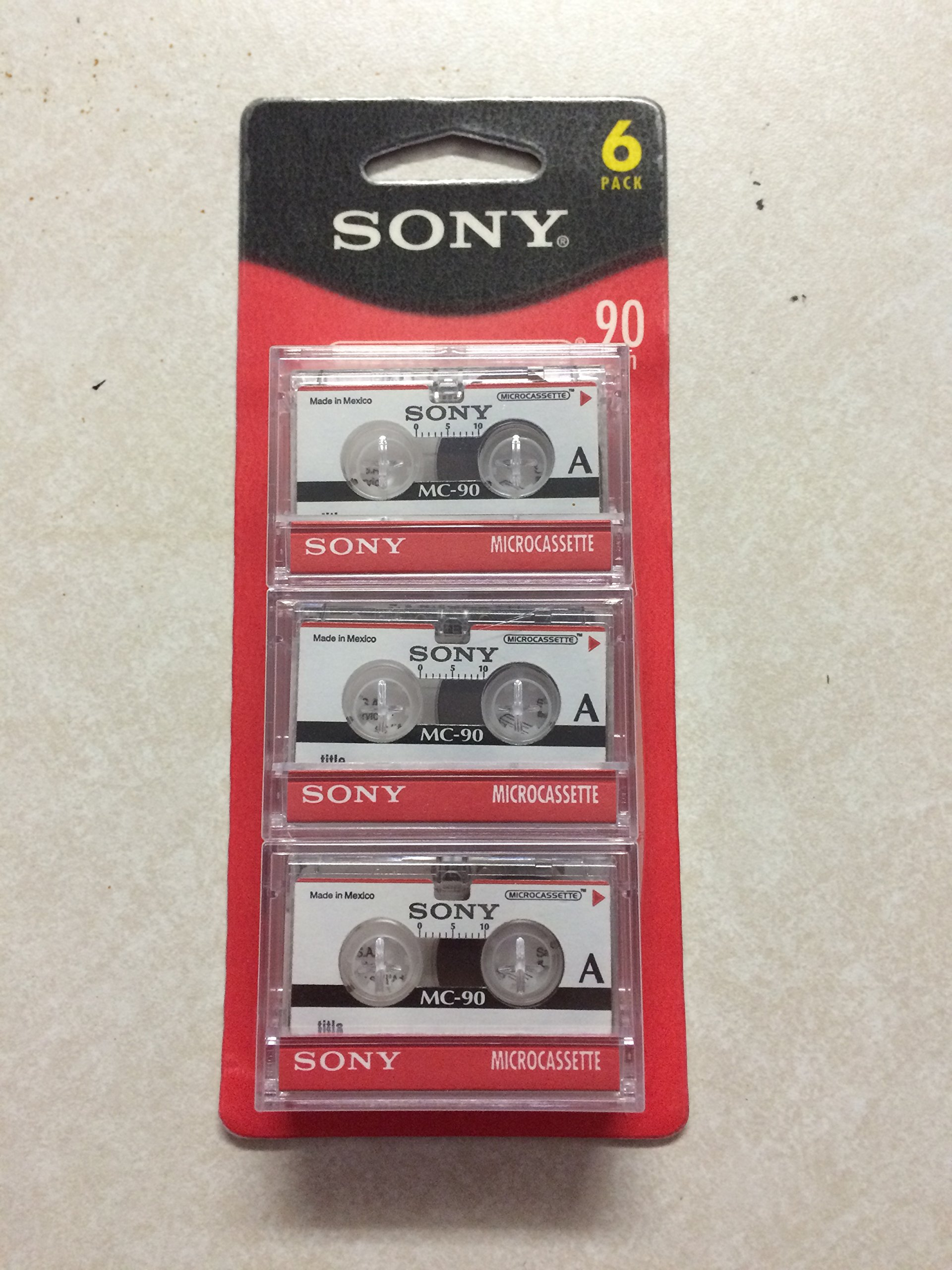 SONY mc90 Microcassette Audio Tapes 6 pack