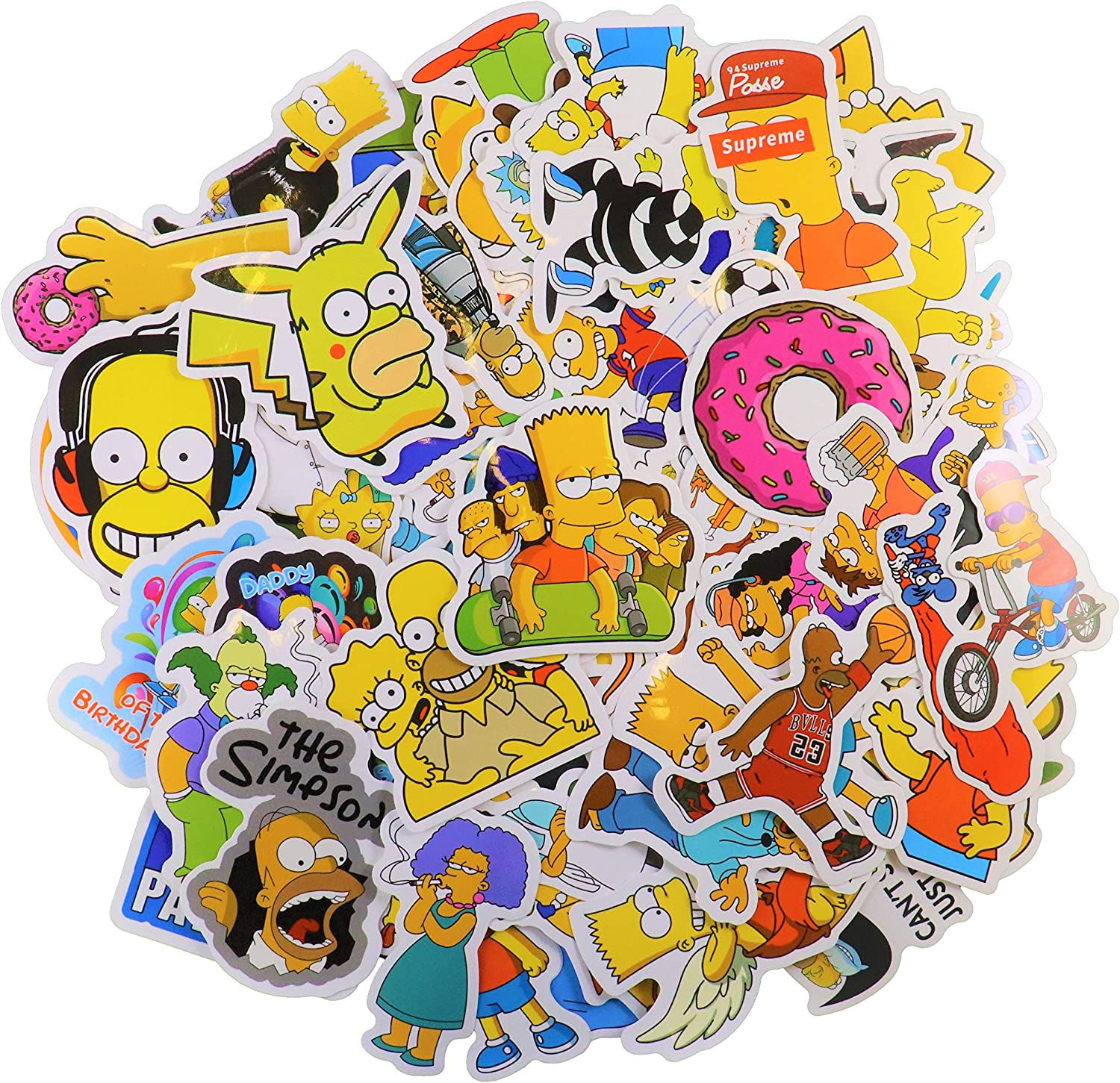 Cartoon Sticker Pack (56Pcs) The Simpson Waterproof Vinyl Stickers for Water Bottles,Laptop,Kids,Cars,Motorcycle,Bicycle,Skateboard Luggage,Bumper Stickers Hippie Decals Bomb