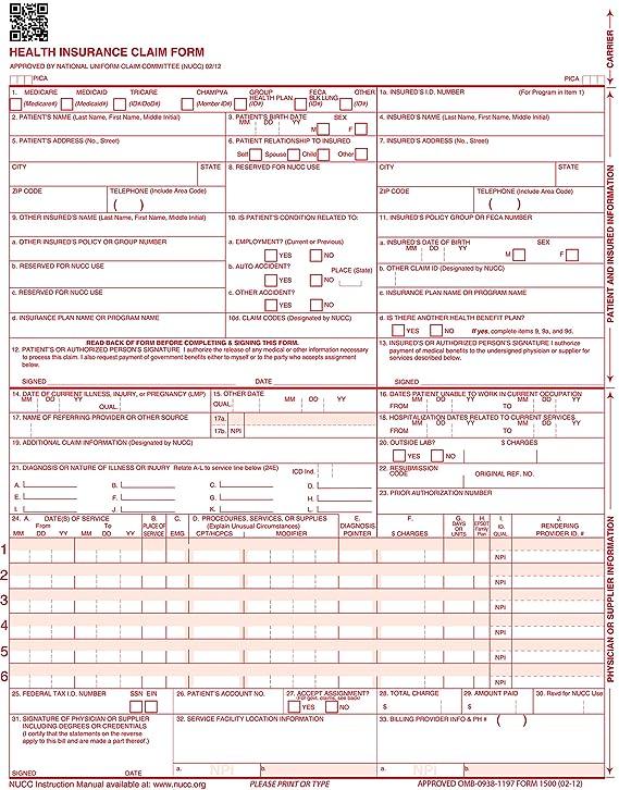 Amazon Com Cms 1500 Claim Forms Icd 10 Hcfa Version 02 12