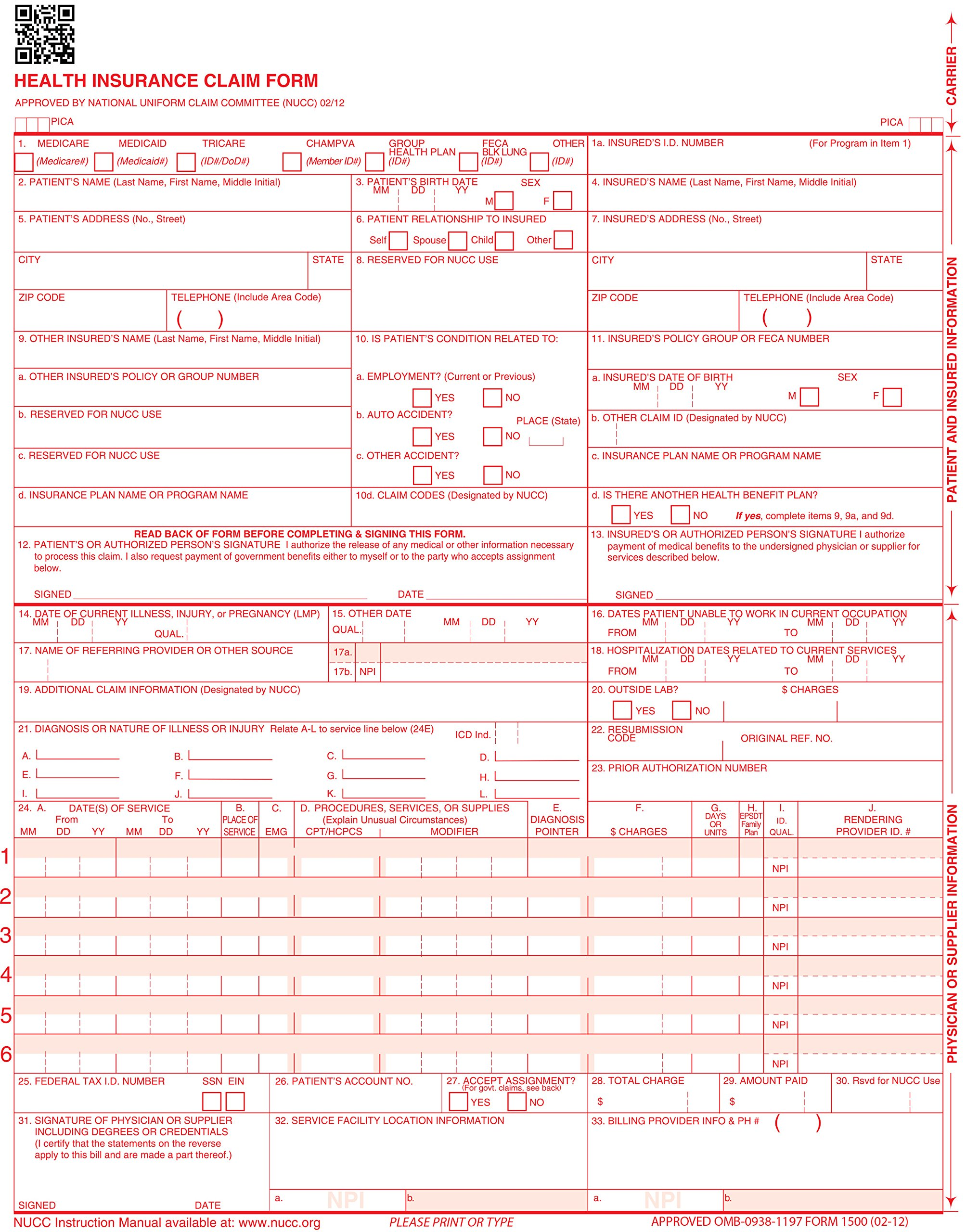 CMS 1500 Claim Forms ''ICD-10'' HCFA (Version 02/12) - Health Insurance, Laser Cut Sheet - 2500 Sheets