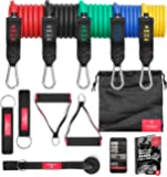 BeMaxx Fitness Resistance Band Set Training Guide - Premium Expanding Tubes | Heavy Duty Bands: 5 Latex Exercise Cords + Handles, Door Anchor & Ankle Straps - Leg & Full Body Workout | Men, Women