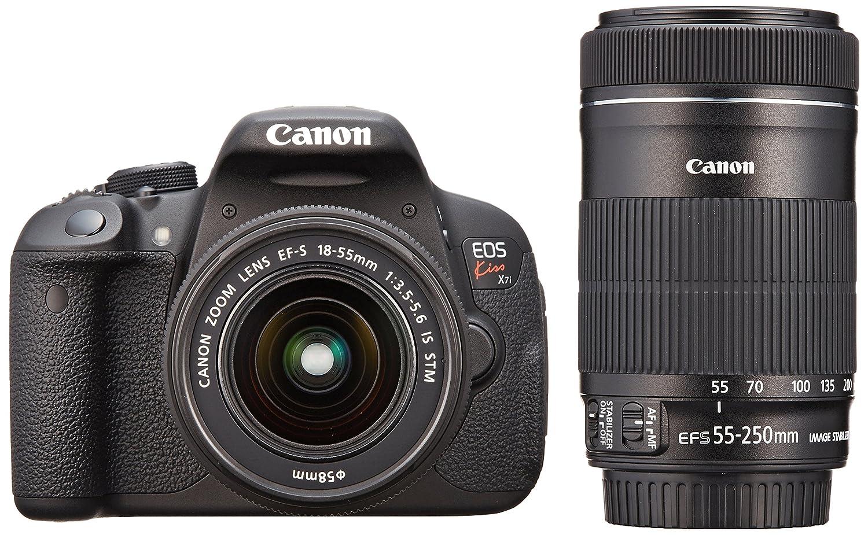 Canon デジタル一眼レフカメラ EOS Kiss X7i ダブルズームキット EF-S18-55 IS STM/EF-S55-250 IS STM付属 KISSX7I-WKIT ダブルズームキット  B00EP71DZK