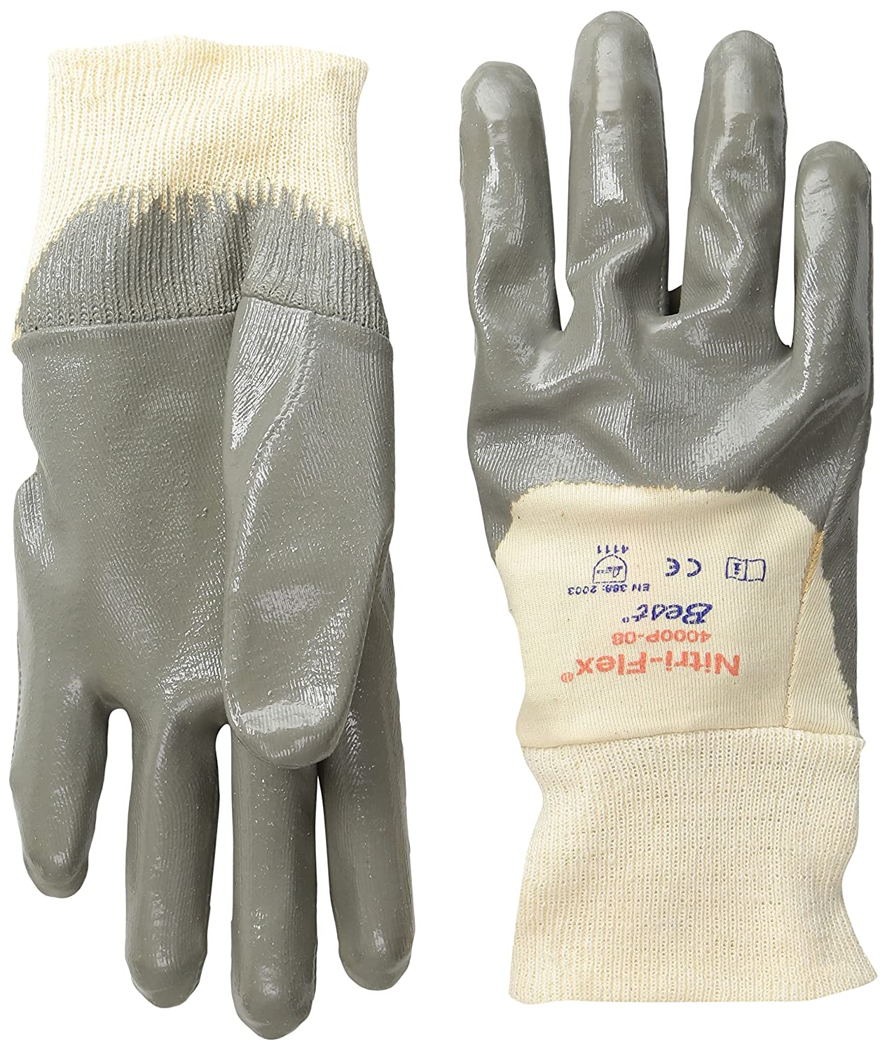 Cotton Interlock Liner Small General Purpose Work Pack of 12 Pairs SHOWA 4000P  Palm-Coated Nitrile Glove