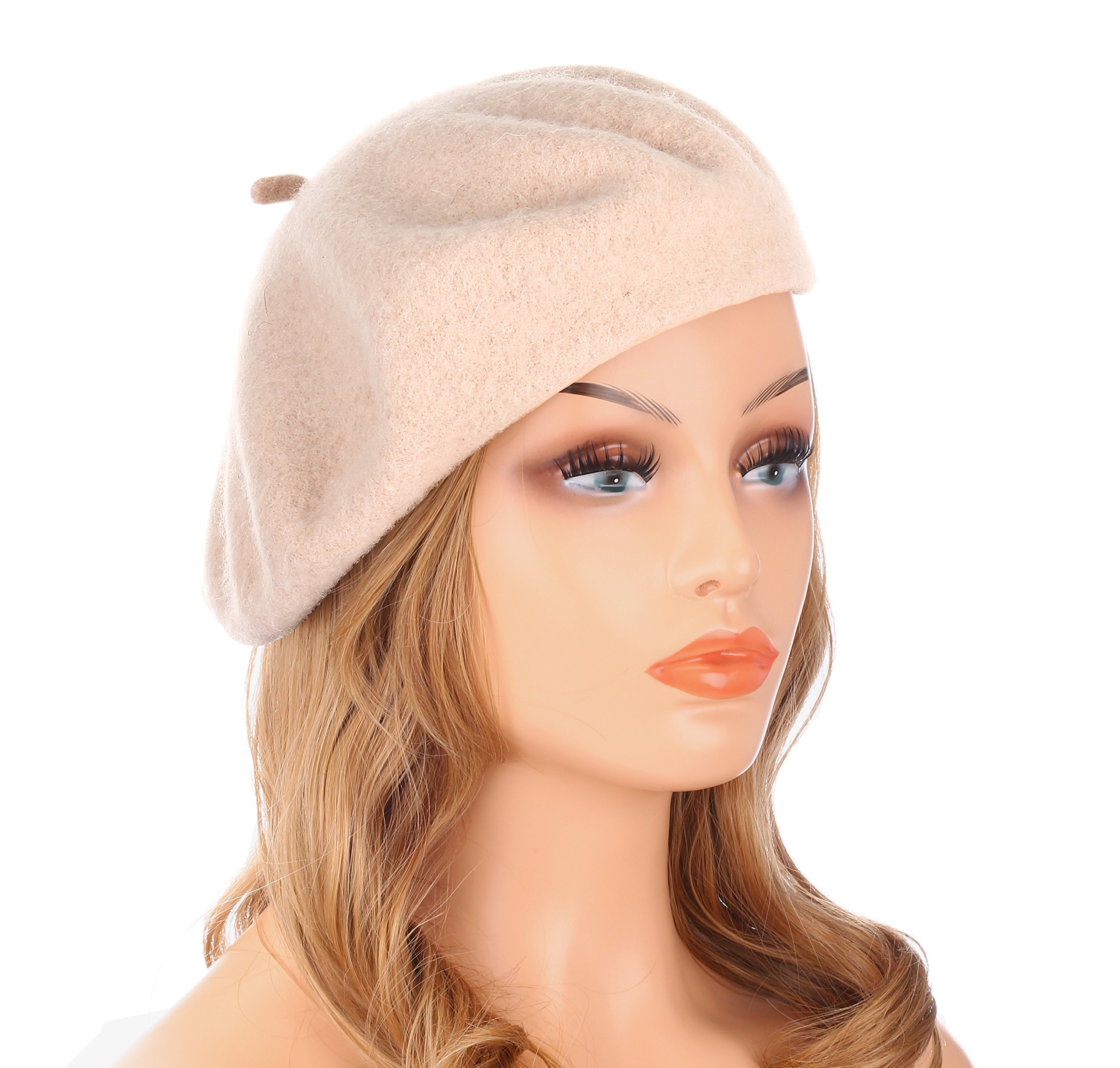 Wheebo Wool Beret Hat,Solid Color French Style Winter Warm Cap for Women Girls (Beige)