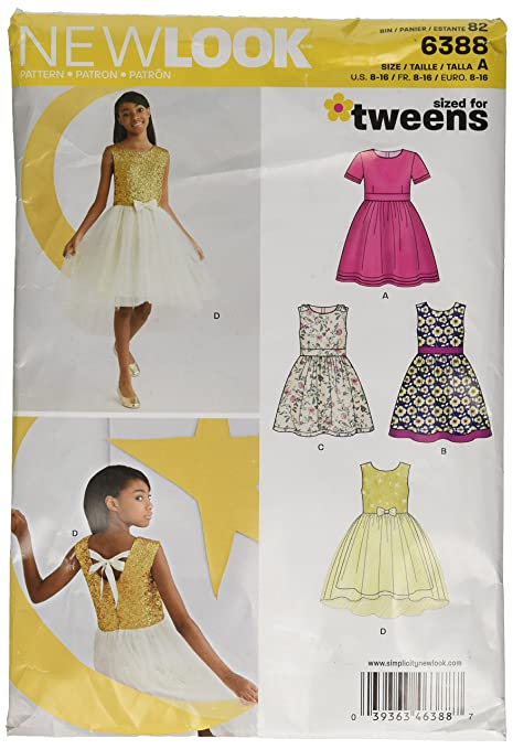 New Look 6388 Size A Girls\' Party Dresses Sewing Pattern, Multi ...