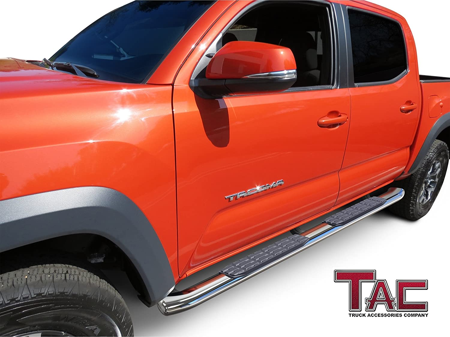 TAC Side Steps Fit 2005-2019 Toyota Tacoma Double Cab 4 Oval Bend T304 Stainless Steel Nerf Bars Running Boards A+ Grade Polish Finish + Mold Form Brackets