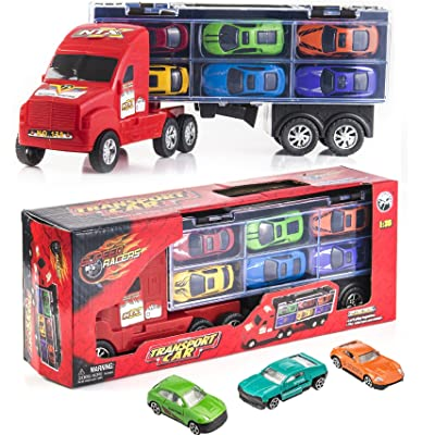 "Prextex 15"" Carrier Truck Toy Car Transporter Includes 6 Metal Cars Toy for Boys Great for Boys: Toys & Games"