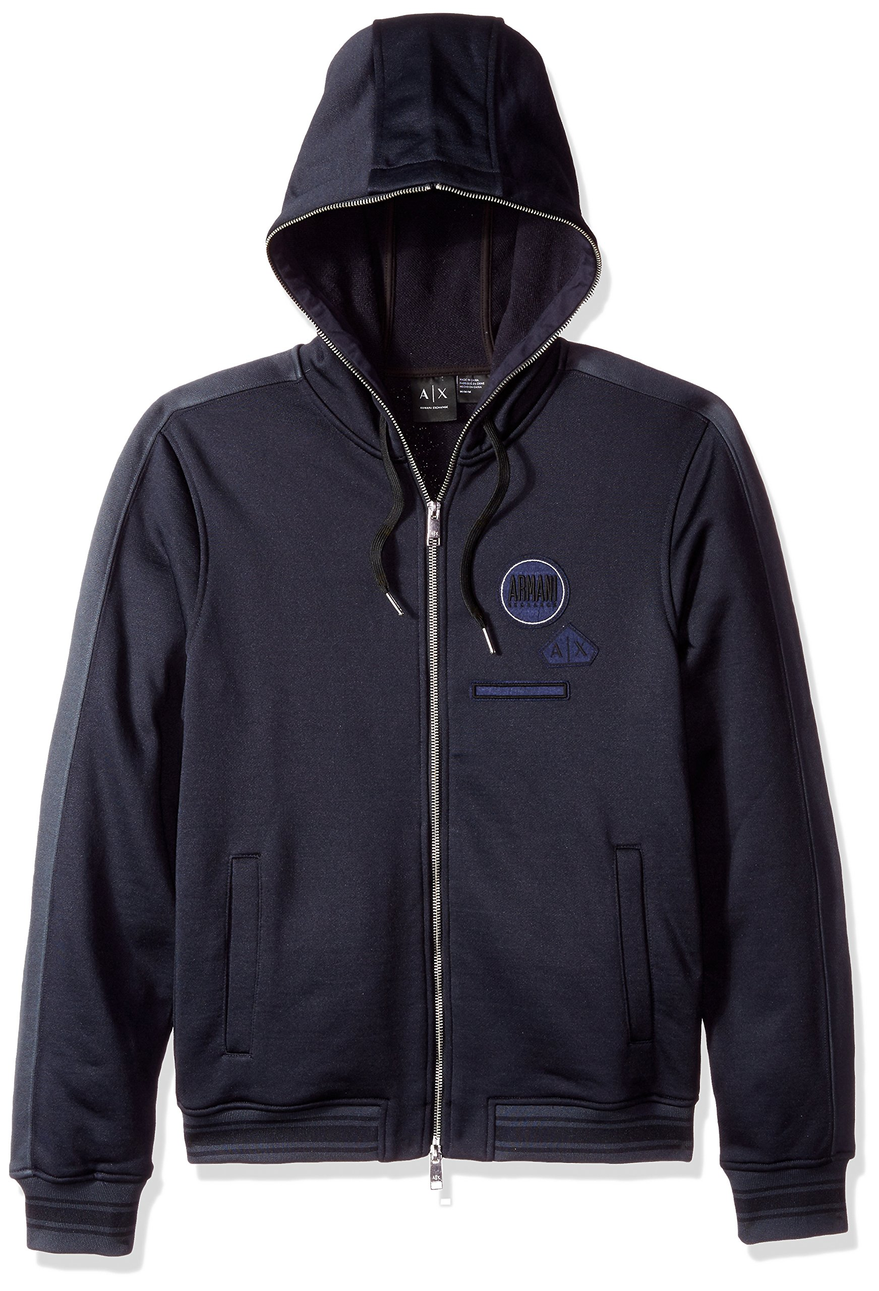 A|X Armani Exchange Men's Varsity Full Zip Hoodie with Patch Detail, Navy, Small