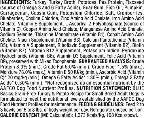 Blue Buffalo Basics Limited Ingredient Diet, Grain Free Natural Adult Small Breed Wet Dog Food Cups, 3 oz Pack of 12
