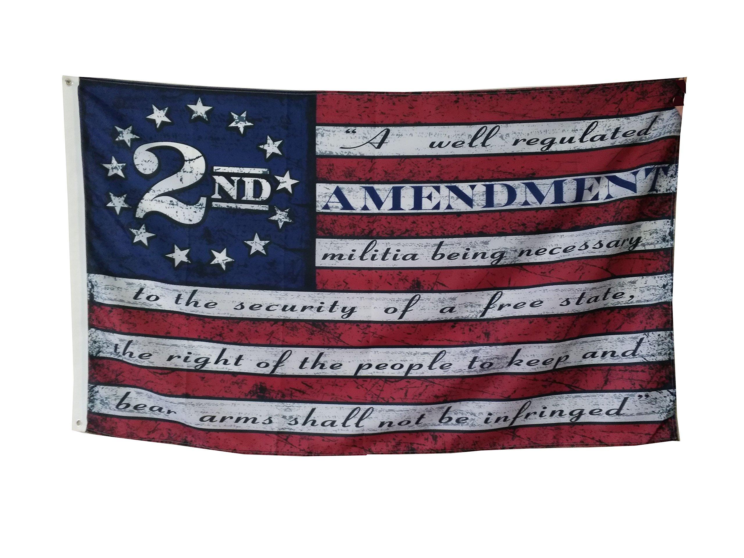 Flylong Second 2nd Amendment Vintage American Flag Banner USA Second 2A Man Cave Decor 3X5 Feet by Flylong