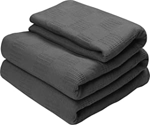 Utopia Bedding Premium Cotton Blanket King Grey - Soft Breathable Thermal Blanket - Ideal for Layering Any Bed