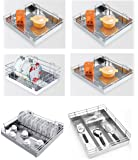 Leaves Stainless Steel Basket Set Of Six Pull Out Drawers/Shelves/Rack Basket Tray