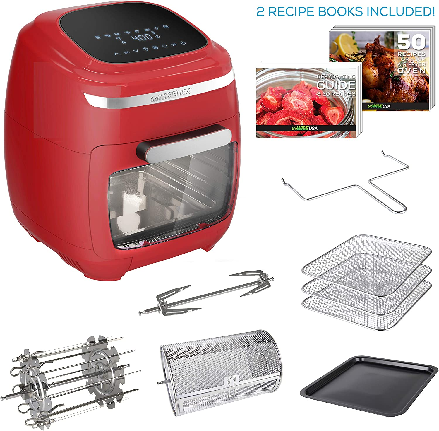 GoWISE USA 11.6-Quart Air Fryer Toaster Oven with Rotisserie & Dehydrator + 50 Recipes (Red)