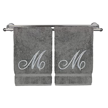 Monogrammed Hand Towel, Personalized Gift, 16 x 30 Inches - Set of 2 - Silver Embroidered Towel - Extra Absorbent 100% Turkish Cotton- Soft Terry Finish - for Bathroom, Kitchen and Spa- Script M Gray