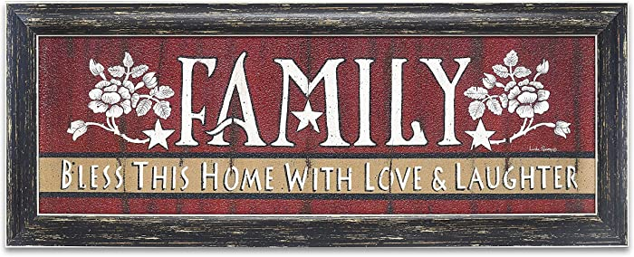 Family Bless This Home with Love and Laughter - Rustic Home Decor - Primitive Americana Inspirational Wall Plaque 24 x 8