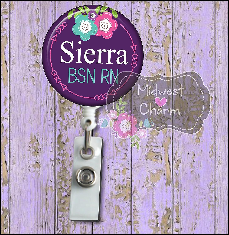 purple floral..Retractable badge holder, nurse gift, ob, L& D, id holder, reel, RN, LPN, CNA Personalized Christmas Gift
