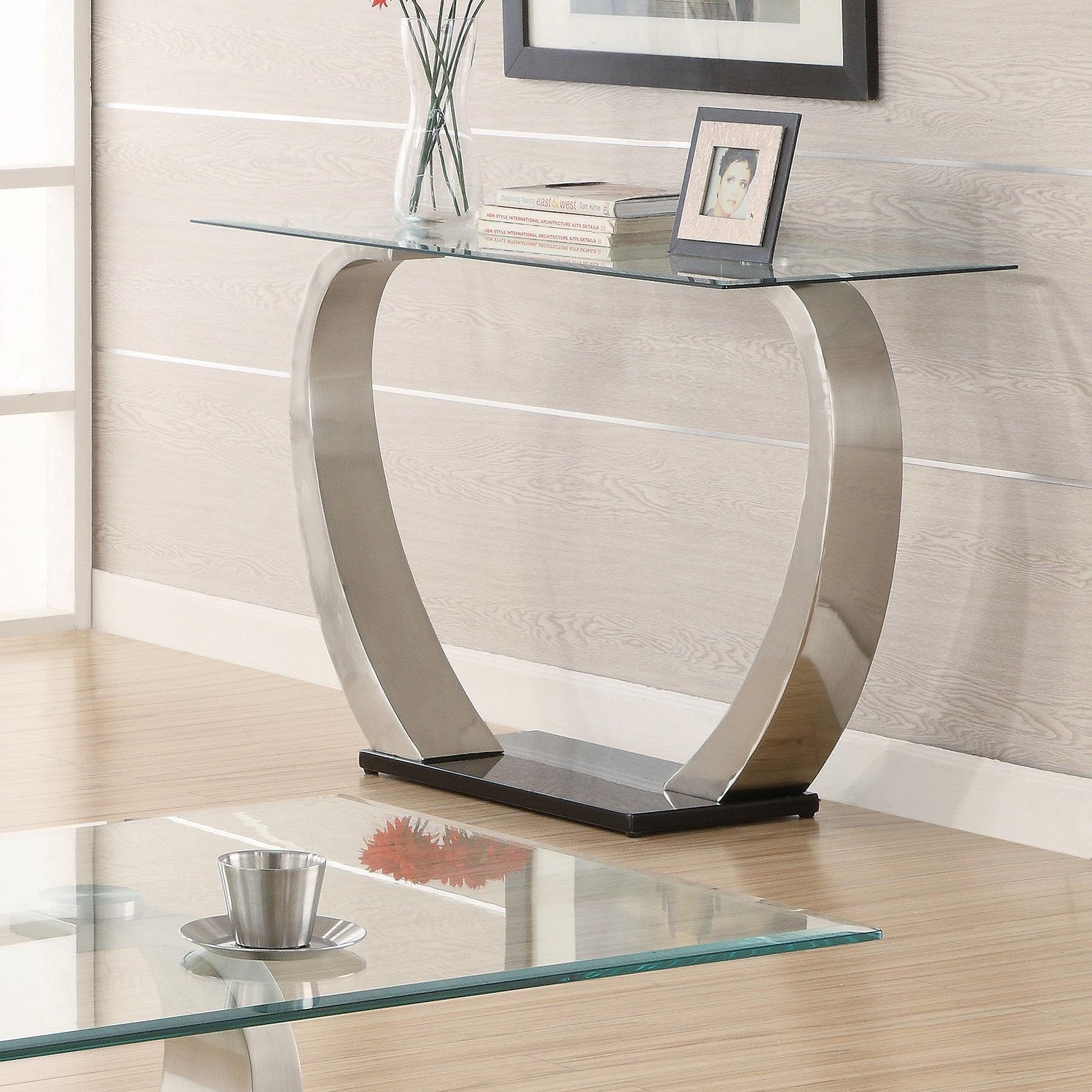 Coaster Shearwater Rectangular Sofa Table Silver and Clear by Coaster Home Furnishings