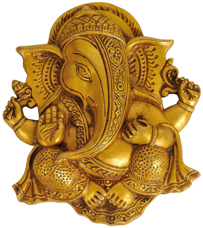 Lord Ganesha Wall Hanging Flat Statue Brass Sculpture