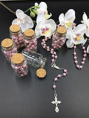 Big Size 12X White Sliver Rosary Bottle Baptism Communion Recuerdo de Bautizo