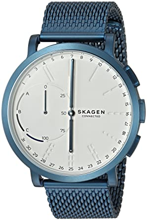 Amazon.com: Skagen Hagen Connected Blue Steel-Mesh Hybrid ...