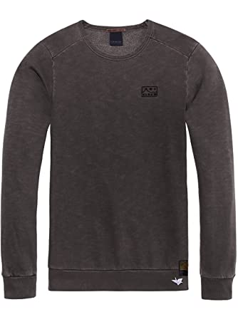 538de8522b2b Scotch   Soda Herren Sweatshirt Ams Blauw Garment Dyed Sweat mit Chest  Embroidery, Grau (