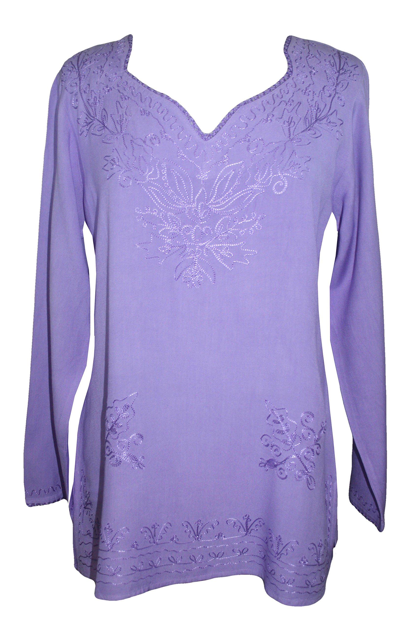 720 B Medieval Renaissance Embroidered Top Blouse (XL/1X, Lavender)