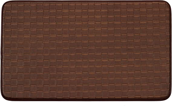 Chef Gear Faux Leather Basket Weave 18 X 30 In Comfort Chef Mocha Coffee Print Kitchen Mat Home Kitchen Amazon Com